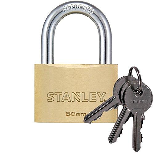 STANLEY Solid Brass Vorhangschloss 60 mm mit Standard-Bügel, 3 Schlüssel, S742-033, Schloss, Bügelschloss (Pick-60mm)