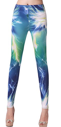 Bigood Pantalon Fantaisie Femme Collants Imprimé Leggings Mode Bleu