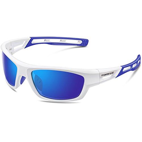 Torege Sport-Sonnenbrille polarisierte Sonnenbrille für Mann Frauen Radfahren Laufen Angeln Golf TR007, White&Blue&Blue Lens ...
