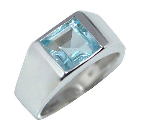 Avant Gems Damen Unisex Herren -  925 Sterling-Silber  Sterling-Silber 925 Emerald Cut, Square   blau Blautopas  (Ring Emerald Herren)