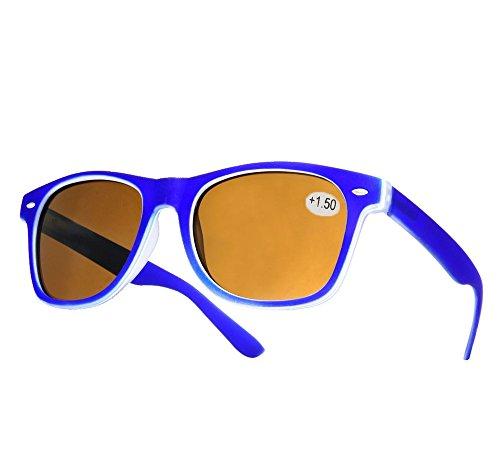 NEW Damen Herren +1.5 Wayfarer Sun Lesebrille gegenüber Sonnenlicht in der Sonne zu lesen Brille Clubmaster Morefaz(TM) (+1.5 Sun Rubi blue)
