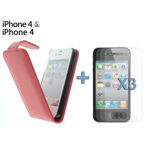 OnlineBestDigital - Prime Similicuir Du Titulaire de Carte Cas / Housse pour Apple iPhone 4S / Apple iPhone 4 - Rouge avec 3 Film de Protection et Stylet Rouge