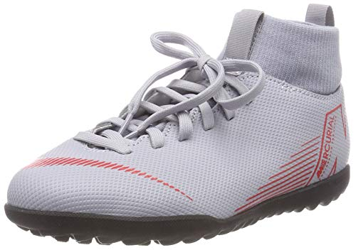 Nike JR SUPERFLYX 6 Club TF, Scarpe da Calcetto Indoor Unisex-Bambini, Multicolore (Wolf Grey/Lt Crimson/Black 060), 38.5 EU