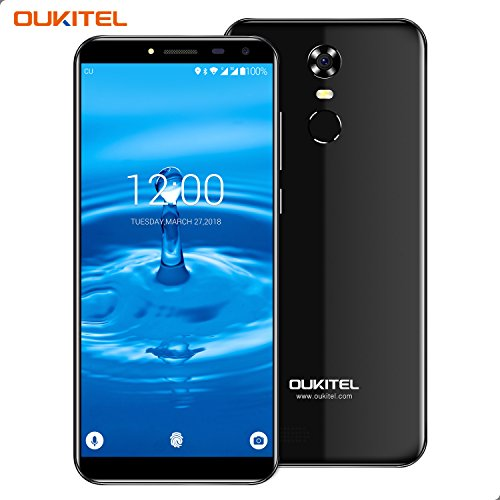 Smartphone Ohne Vertrag, Oukitel C8 3G Dual Sim Handy 5.5 Zoll (18:9 Display) Android 7 3000mAh Akku 16GB Interner Speicher 2GB RAM 13MP Kamera Handy mit Fingerabdruck-Schwarz