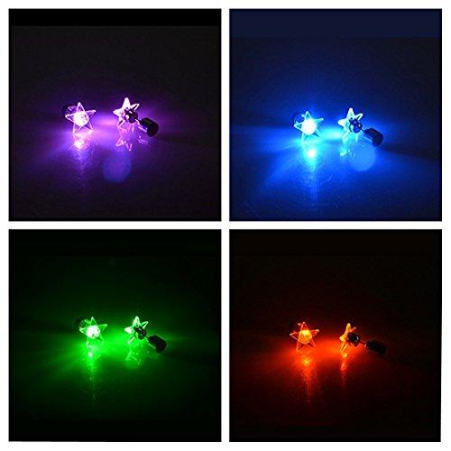 leuchtende Stern-Ohrstecker, mit LED-Licht, aus Edelstahl für Rave Party, mehrfarbig, 4 Pair: Blue, Green, Purple, Red (Erwachsenen-pair-mädchen Kostüme)