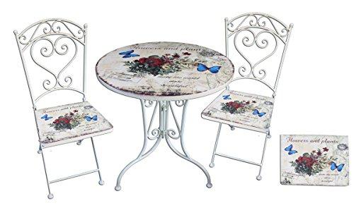 Bistro-Set Floral 3-Teilig Balkonmöbel Garnitur Sitzgruppe für Balkon Garten Terasse Gartenmöbel Bistrotisch 2x Stühle Antik Weiß