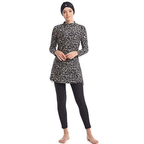 seafanny Damen Muslimische Bademode Islamischer Badeanzug 3-teilig Ganzbezug Hijab Burkini bescheidener Badeanzug Gr. XXL, Schwarz