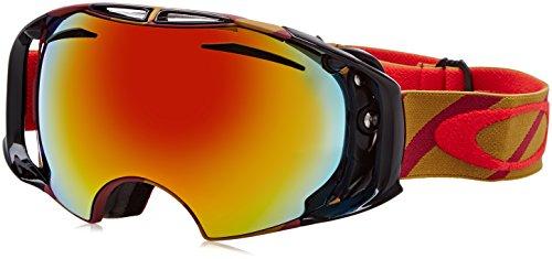 Oakley Airbrake Masque de Ski Mixte Adulte, Hazard Bar Burnt Red/Fire Iridium/Persimmon