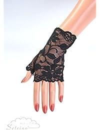 SETRINO dehnbare kurze Spitzen Handstulpen schwarz (H11 BL)