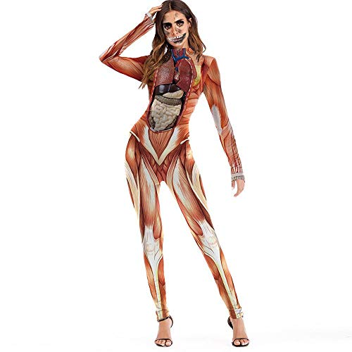 Doublehero Damen Skelett Kostüm Scary Halloween 3D Schädel Blut Print Overall Party Cosplay Jumpsuits Catsuit Aufdruck Bodysuit Langarm Playsuit Reizvoller Body Clubwear (L, Orange)