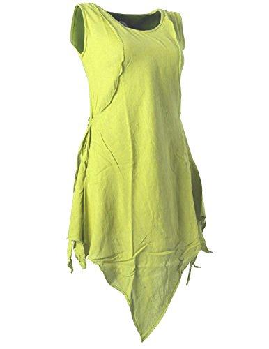Vishes – Alternative Bekleidung – Zipfeliges Lagenlook Shirt Tunika aus handgewebter Baumwolle – im Used-Look Hellgrün