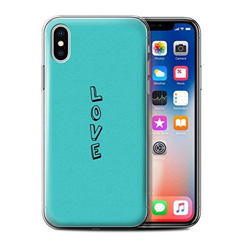 Stuff4 Gel TPU Hülle / Case für Apple iPhone X/10 / Rosa/Schick Muster / Gekritzel Wörter Kollektion Blau/Liebe