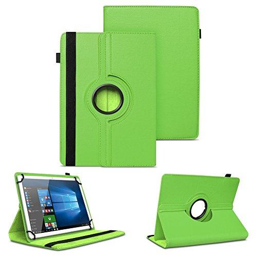 NAUC XORO PAD 9W4 PRO Universal Tablet Schutzhülle hochwertiges Kunst-Leder Hülle Tasche Standfunktion 360° Drehbar Cover Case, Farben:Grün