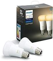 Philips Hue Pack de 2 Bombillas Inteligentes LED E27, con Bluetooth, Luz Blanca de Cálida a Fría, Compatible c