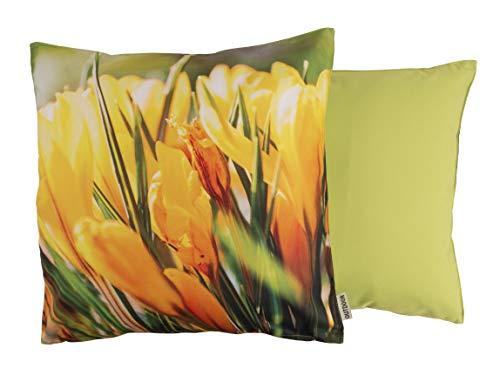 CB Home & Style Outdoor Garten Kissen Wasserabweisend Krokus gelb 45 x 45 cm (DesMia02) -