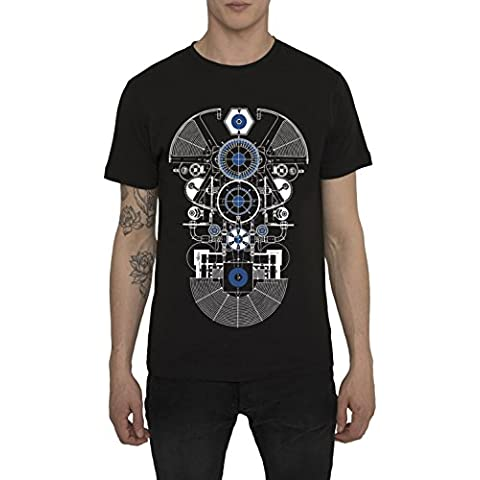 Camisetas de Algodón para Hombre, T Shirt Rock, Camiseta Negra con Estampada - AMATEUR Cool Fashion Graphic 3D Design, Cuello redondo, Manga corta, Ropa Moda Designer para Hombres S M L XL