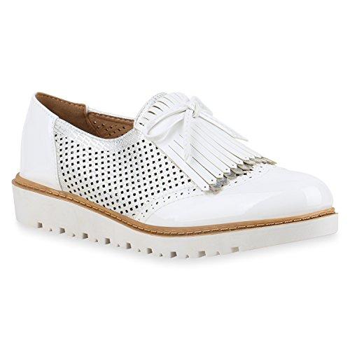 Damen Slipper Fransen Lack Schuhe Profilsohle Flats Weiß