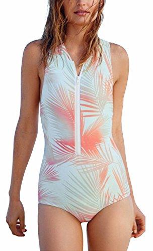 I VVEEL Damen Vintager hoher Nacken drückt Monokini Badeanzug