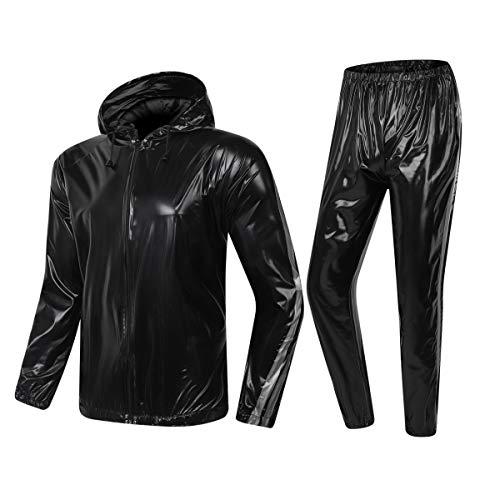 MulYeeh Schwitzanzug für Gewichtsverlust, strapazierfähig, Sauna-Anzug, Fitness-Trainingsanzug für Männer und Frauen, schwarz, US=L(TagXL)