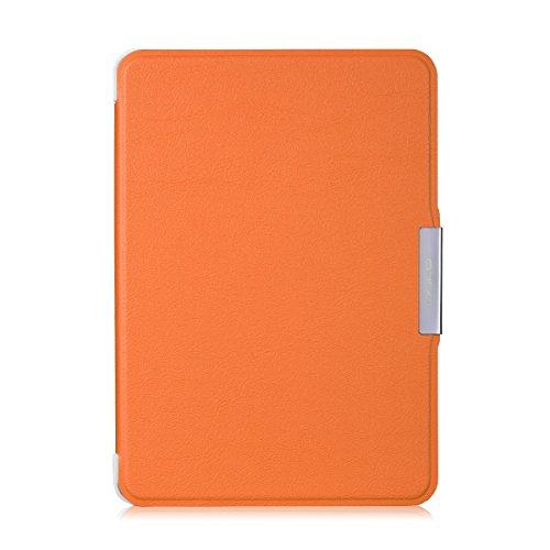MoKo Etui Liseuse Kindle Paperwhite - étui Flip ultra mince et léger pour Amazon Liseuse Kindle Paperwhite (Convient à tous les modèles: 2012,2013,2015 et 2016 Blanc), NOIR B-Orange