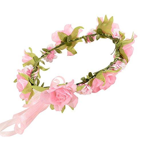 DingLong Baby Stirnband Kinder handgemachte Blumen Stirnband Haarband Kranz Kopfschmuck, Reise-Picknick Nehmen Sie Bilder (B)