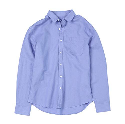 Myfilma ◔◡◔ Mode Herren Sommer Hawaii T-Shirt Knopf Freizeithemd Gelb Leinen Baumwolle Langarm Top Bluse -