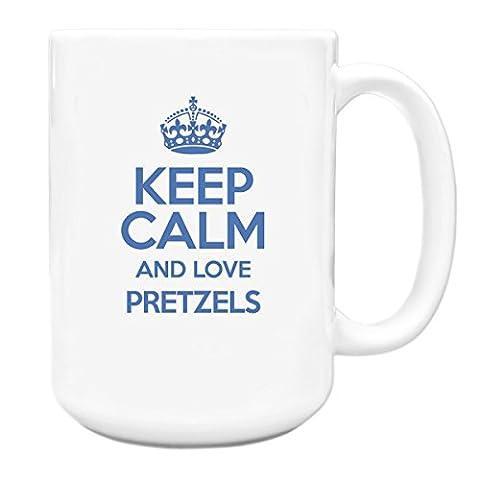 BLUE Keep Calm and Love Pretzels Big 15oz Mug TXT 2850