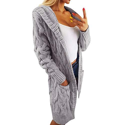 Hirolan Damen Strickjacke Gestrickt Sweatshirt Übergroß Lose Outwear Mantel Langarmshirt Wasserfall Strickmantel mit Tasche Asymmetrisch Cardigan Wasserfall Jacke (Freie Größe, Grau) -