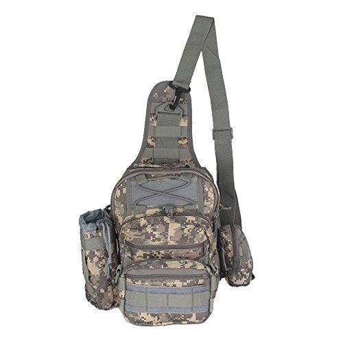innturt Tactical MOLLE Sling Bag Schulter Messenger Rucksack Multifunktions-Trekking Camping Tasche grau - grau
