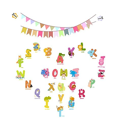 Cartoon Animals English Graphic Alphabet Letters Wall Stickers Removable Wall Decal for Girls and Boys Nursery Baby Room Children's Bedroom by AWAKINK -