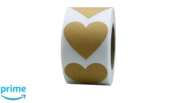 hybsk Gold Etiketten 30/mm Love Herz natur Papier Aufkleber selbstklebend Label 5,00/Pro Rolle 1 Roll gold