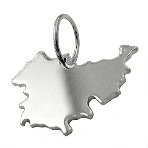 Thüringen - Landkarten Anhänger BRD Land Bundesland 925 Echt Silber Unisex
