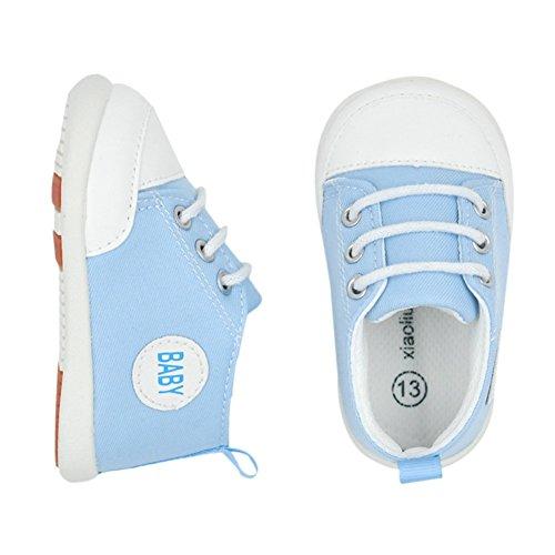 MiyaSudy Baby Jungen Mädchen Schuhe Kleinkind Anti-Rutsch weiche Sohle Casual Sneaker Lauflernschuhe Erste Wanderer 3-18 Monate Hellblau