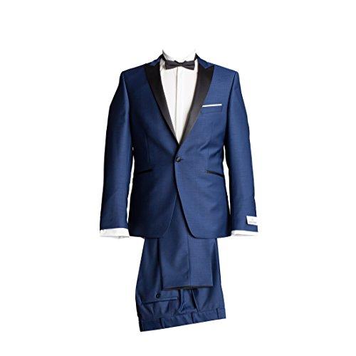 WILVORST Anzug Smoking Sakko Smoking Hose ohne Bundfalte Mitternachtsblau Drop8 Extra Schmal Tailliert Geschnitten Runder Schalkragen 63% Wolle 26% Polyester 7% Polyamid 4% Elasthan 270g 56 (Schalkragen-hosen-anzug)