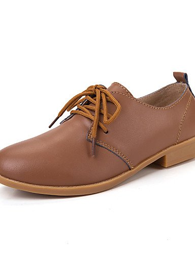 ZQ Scarpe Donna-Stringate-Casual-Comoda-Piatto-Di pelle-Blu / Marrone / Rosa / Bianco / Beige , brown-us8.5 / eu39 / uk6.5 / cn40 , brown-us8.5 / eu39 / uk6.5 / cn40 blue-us7.5 / eu38 / uk5.5 / cn38