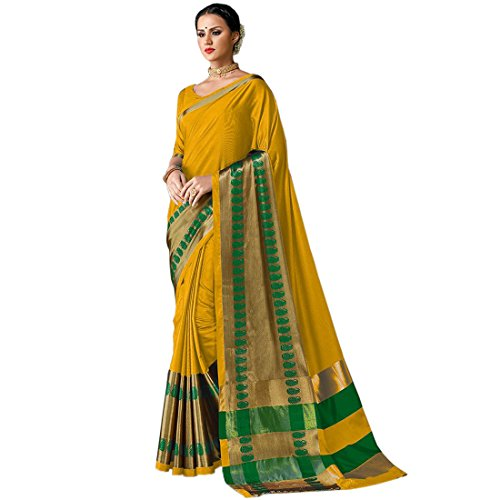 Art Décor Sarees Women's Yellow Color Cotton Silk Jacquard Saree With Blouse