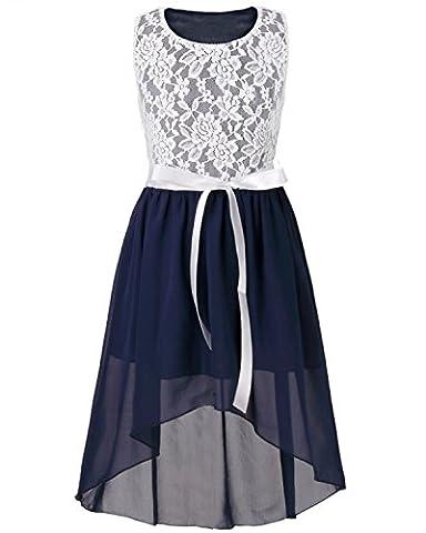 iEFiEL Mädchen Kleid Festlich Tüll Sommer Kleid Blumenmädchen Hochzeit Festzug Bekleidung mit Schleife 116-164 Marineblau