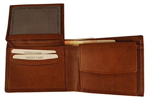 KENDT Design - Herren Geldbörse Leder, Portemonnaie, Brieftasche, Querformat KD7303-D (Cognac) Cognac