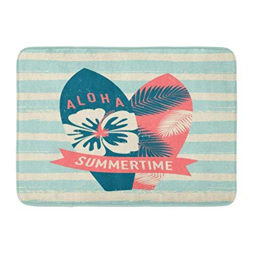 Soefipok Fußmatten Badteppiche Outdoor/Indoor Fußmatte Surf Two Surfboards und Red Text Summertime Hellblau Creme Pinselstriche Board Badezimmer Dekor Teppich Badteppich