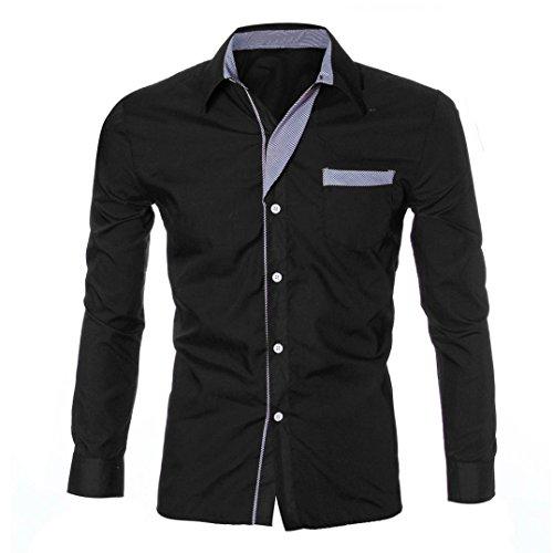 Camisetas para hombre Lujo Manga larga Casual Slim Fit Vestido con estilo By LMMVP (Negro, L)