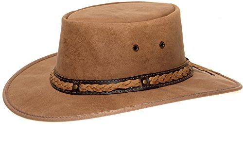Barmah 1022 Squashy Bronco Cooper Crossing Lederhut aus Australien + Hutablage & Kinnriemchen | Beige / Hickory | Size L (Outback-hut Style Aussie)