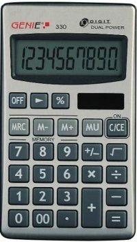 Taschenrechner Genie 330 inkl Schutzklappe Solar und Batterie, Verpackungseinheit: 3 Stück