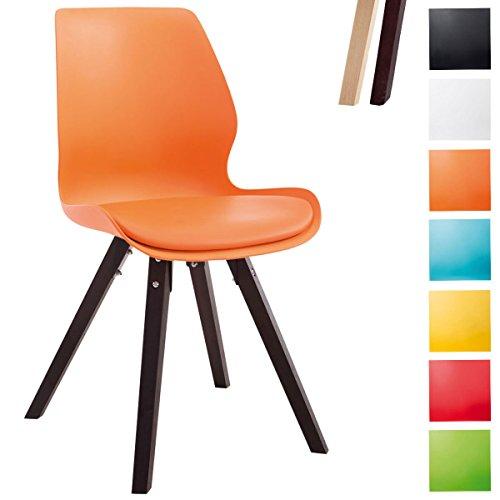 Clp sedia visitatore perth con gambe quadrate - sedia design in robusto polipropilene i sedia pranzo in legno di faggio con schienale arancione colore base: cappuccino