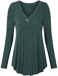 BeLuring Women V Neck Buttons Long Sleeve Tunic Tops T Shirt Blouse