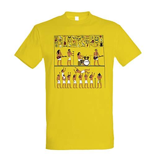 Camiseta Ancient Rock de Pampling. Divertida camiseta de un jeroglífico de una banda de músicos rocks egipcios. Camiseta perfecta para los amantes de la música rock y de Egipcio. 100% algodón de 180 gr.