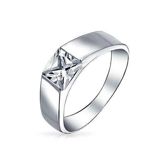 Bling Jewelry taglio Princess 925 Sterling Silver CZ banda lucidato Unisex anello di fidanzamento