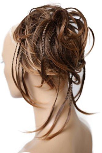 Prettyshop xxl parrucchino voluminoso pezzo capelli capelli di gomma scrunchie ricci updo bun marrone mix # 4t30 g8d