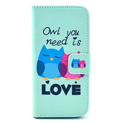 iPhone SE Hülle Case,iPhone 5S Hülle Case,Gift_Source [Smile] [Kickstand Flip] [Card Slot] Cute PU Leder Brieftasche Hülle Case Soft TPU Hülle Case Folio Flip Hülle Case Cover für Apple iPhone SE / iP E01-32-Owl You Need is Love
