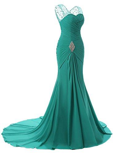 Azbro Women's V Neck Ruffled Rhinestone Trim Prom Dress green