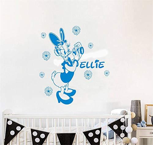 Wandaufkleber Kinderzimmer wandaufkleber 3d Cartoon Duck personalisierte Name für Mädchen Schlafzimmer Daisy Design Kindergarten benutzerdefinierte Dekor